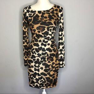 INC | Leopard long sleeve crunchy Midi Dress